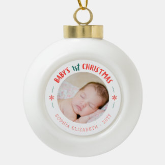Erstes Andenken des Babys Weihnachts Keramik Kugel-Ornament