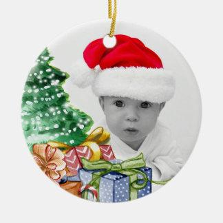 Erstes das Foto-Weihnachten des Babys Keramik Ornament