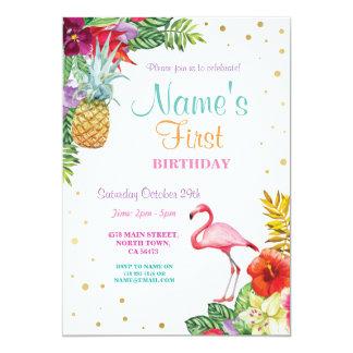 Erstes der Geburtstags-Gold des Flamingo-Aloha 12,7 X 17,8 Cm Einladungskarte
