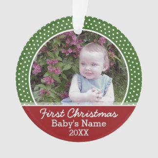 Erstes Foto des Babys Weihnachts- Rot und Grün Ornament
