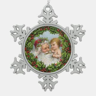 Erstes Weihnachten Sankt und des Babys Schneeflocken Zinn-Ornament