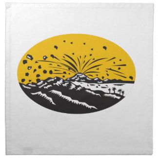 Eruptions-Insel-Bildungs-Oval-Holzschnitt Stoffserviette