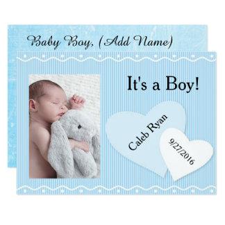 Es ist ein Junge! Blaue Herz-Geburts-Mitteilung 12,7 X 17,8 Cm Einladungskarte