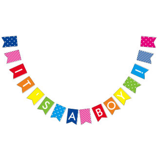 Es ist eine Jungen-Regenbogen-Babyparty-Fahne Wimpelketten