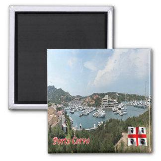 ES - Italien - Porto Cervo - der Hafen Quadratischer Magnet