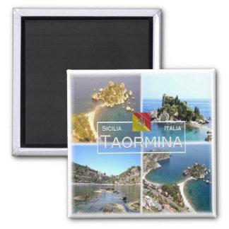 ES Italien # - Sizilien - Taormina - Isola Bella - Quadratischer Magnet