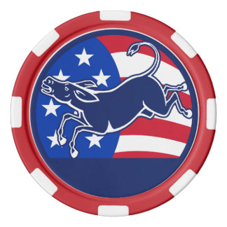 Esel-Demokrat-Flagge Poker Chips Set