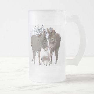 Esel im Winter Mattglas Bierglas