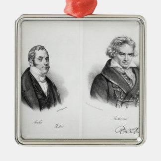 Esprit Auber und Ludwig van Beethoven Quadratisches Silberfarbenes Ornament