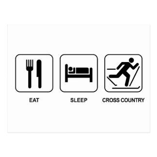 Essen Sie Schlaf-Cross Country Postkarte