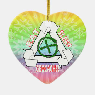 ESSEN SIE SCHLAF GEOCACHE - WIEDERHOLEN SIE IHN KERAMIK Herz-Ornament