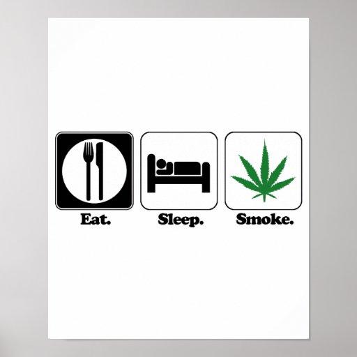 essen Sie Schlaf kiffen Plakatdruck
