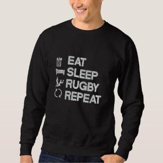 Essen Sie Schlaf-Rugby-Wiederholungs-Rugbysport Besticktes Sweatshirt
