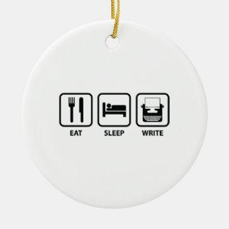 Essen Sie Schlaf schreiben Rundes Keramik Ornament