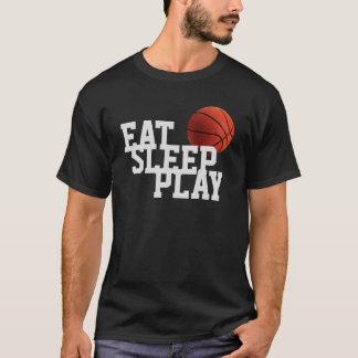 Essen Sie Schlaf-Spiel-Basketball-Schwarz-T - T-Shirt