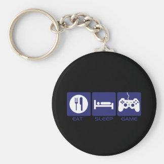 Essen Sie Schlaf-Spiel Standard Runder Schlüsselanhänger
