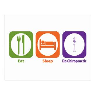 Essen Sie Schlaf tun Chiropraktik Postkarte