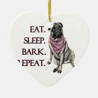 Essen Sie, schlafen Sie, streifen Sie ab, Keramik Herz-Ornament