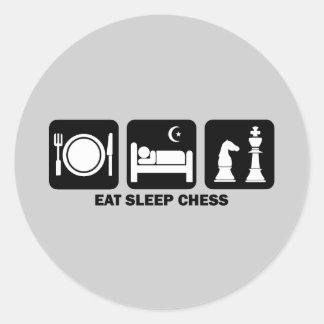 essen Sie Schlafschach Runde Aufkleber