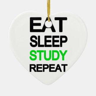 Essen Sie Schlafstudienwiederholung Keramik Herz-Ornament