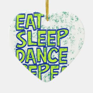 essen Sie Schlaftanzwiederholung Keramik Herz-Ornament