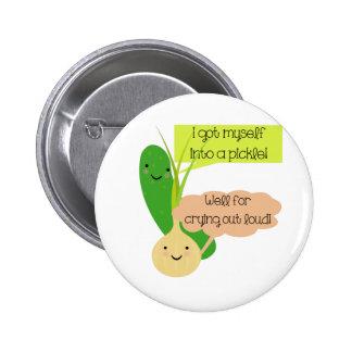 Essiggurken-und Zwiebel-Spaß Runder Button 5,7 Cm