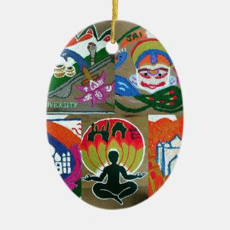 Ethnischer indischer Entwurf Ovales Keramik Ornament