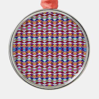 Ethnisches buntes Muster Rundes Silberfarbenes Ornament