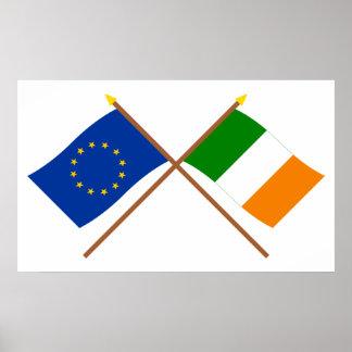 EU und Irland gekreuzte Flaggen Poster