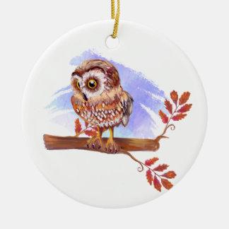 Eule auf Eichen-Aquarell Keramik Ornament