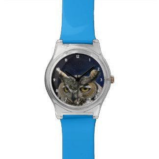 Eule und blauer Mond Armbanduhr