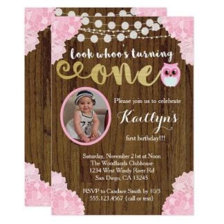 Eulen-erste Geburtstags-Mädchen-Foto-Einladung 12,7 X 17,8 Cm Einladungskarte