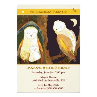Eulen-Familie scherzt Schlummer-Party 12,7 X 17,8 Cm Einladungskarte