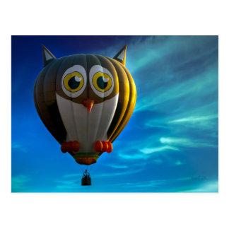 Eulen-Heißluft-Ballon-Postkarte Postkarte