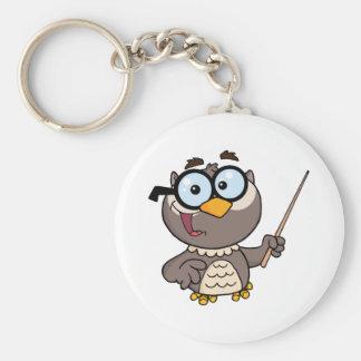 Eulen-Lehrer-Cartoon-Charakter mit einem Zeiger Standard Runder Schlüsselanhänger