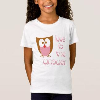 Eulen-Liebe ist die Antwort im Rosa T-Shirt