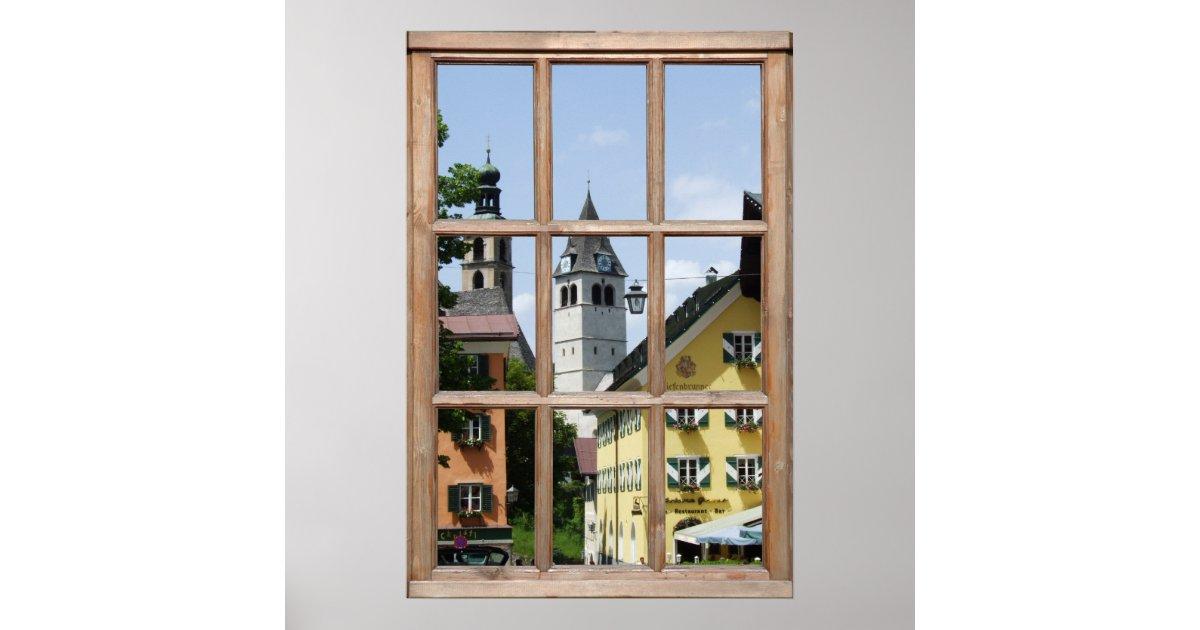 Europ ische stadtansicht von einem fenster poster for Fenster 0 95