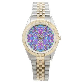 Excrutiatingly bunter Kunst-Deko psychedelisch Armbanduhr