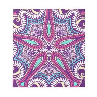 Exotische lila Fraktal Mandala Starfishverzierung Notizblock
