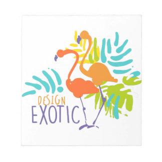 Exotischer Logoentwurf mit Flamingovögeln Notizblock