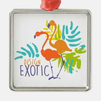 Exotischer Logoentwurf mit Flamingovögeln Quadratisches Silberfarbenes Ornament