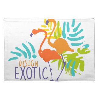 Exotischer Logoentwurf mit Flamingovögeln Tischset