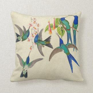 Exotisches blaues Kolibri-Vogel-Blumenthrow-Kissen Kissen