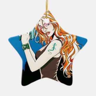 Exotisches weibliches Modell mit dem orange Haar, Keramik Ornament