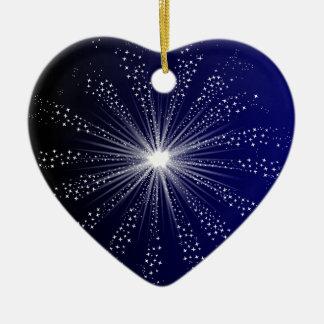 Explodierender Himmel Rocket Keramik Herz-Ornament