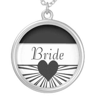 Explosion der Liebe (Schwarzes) (Hochzeit) Halskette Mit Rundem Anhänger