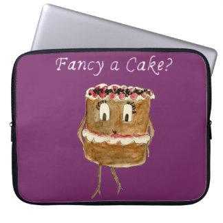 Extravagant eine Kuchen-lustiger schwarzer Laptop Sleeve