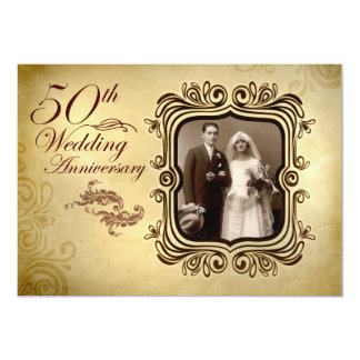 extravagante 50. Hochzeitsjahrestagseinladungen 12,7 X 17,8 Cm Einladungskarte