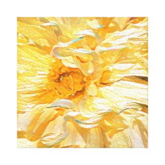 Extravagante gelbe Dahlie Leinwanddruck