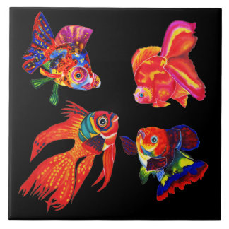 Extravagante tropische Fische entwerfen dekorative Große Quadratische Fliese